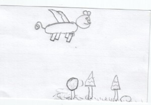 flying pig story illiustration